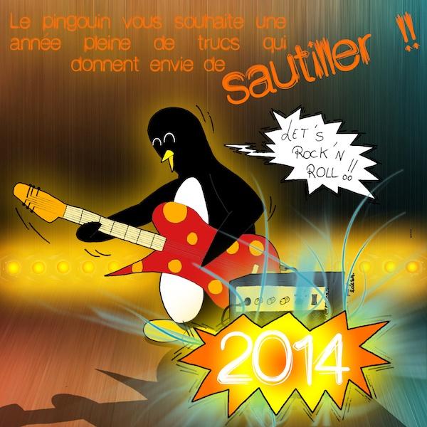 Version colorisée du dessin fait pour souhaiter la bienvenue à l'année 2014.